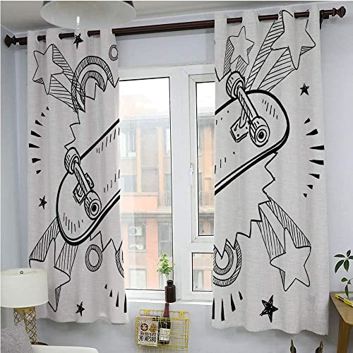 Doodle Grommet Blackout Curtains for Bedroom,Sketch of a Skateboard with Sixties and Seventies Style Pop Art Inspired Background,Thermal Insulated Grommet Blackout CurtainsBlack White63 x 45
