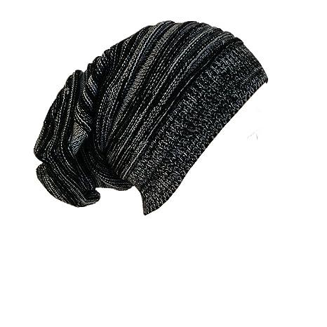 Long bonnet tendance en tricot gris/noir, bonnet hipster large et unisexe