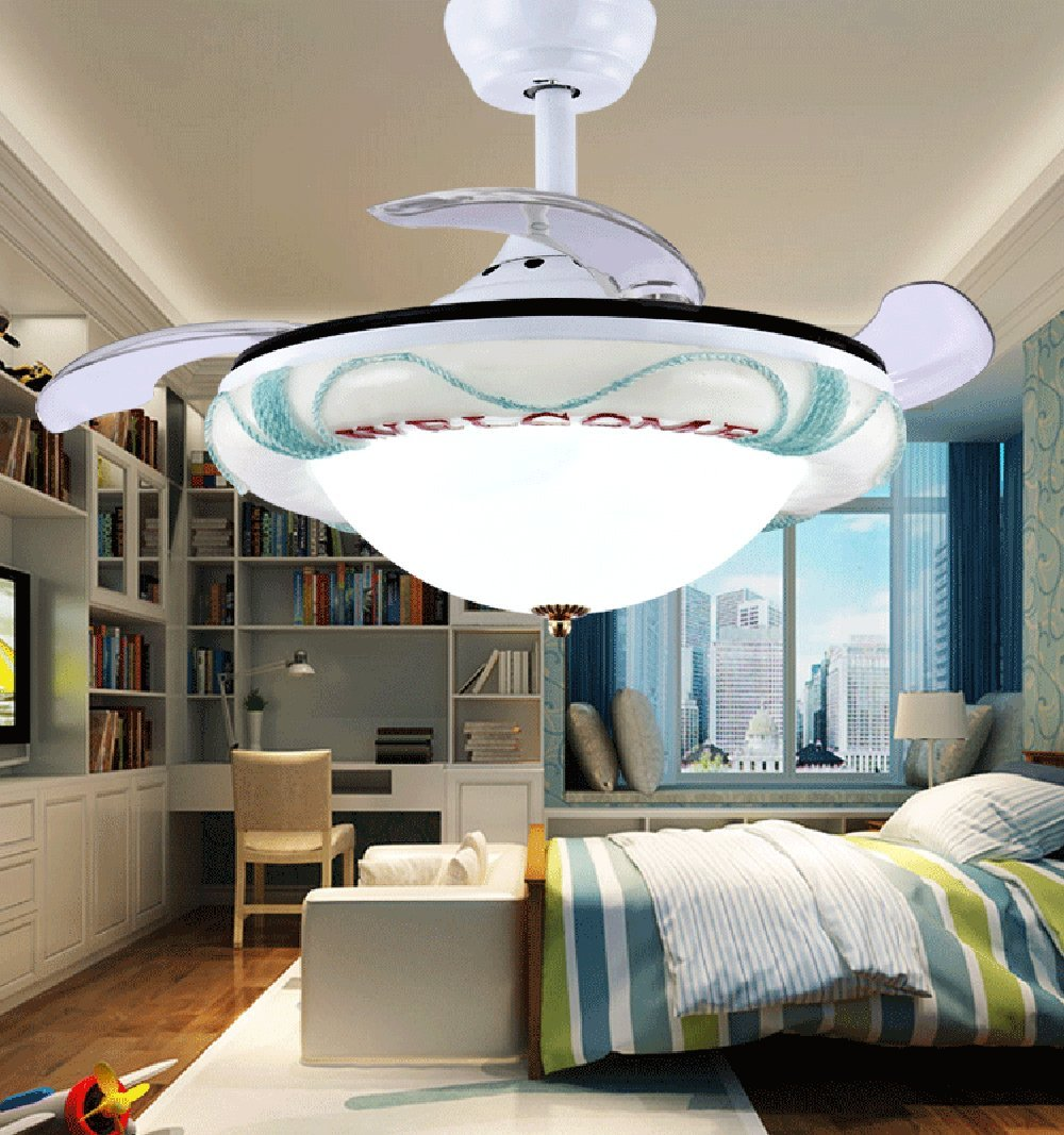 Huston Fan Cartoon Invisible Ceiling Fan Light Suits For Children Bedroom Fan Light Simple Bedroom Fan Small Ceiling Fan With LED White (36 Inches, White)