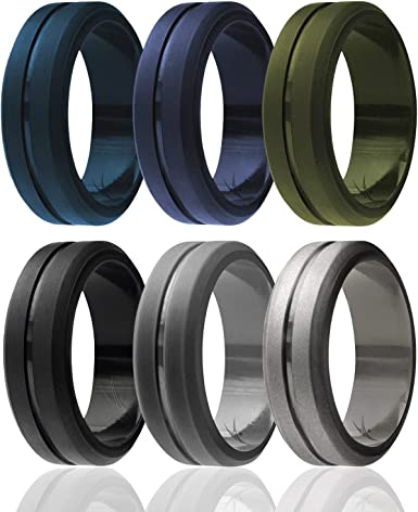 Tungsten Carbide Band for Special Events Engraved Middle Line Style Mens Silicone Rings for Work//Sport//Hiking ROQ 4 Pack 3 Silicone /& 1 Tungsten Carbide Wedding Rings for Men