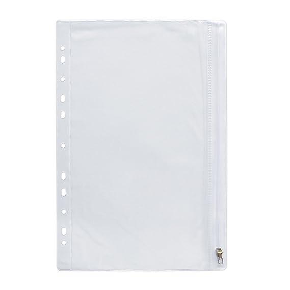 Elba - Fundas con cremallera para archivador (10 unidades), transparente: Amazon.es: Oficina y papelería