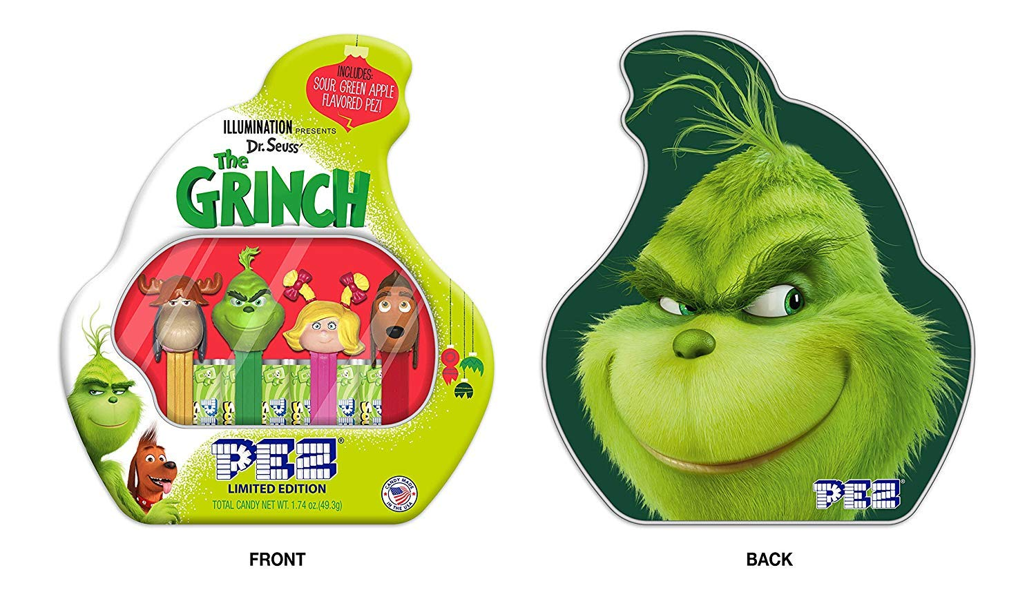 The Grinch Gingerbread House Kit by Illumination   29 Ounces and Pez The Grinch set (2 items)