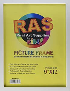 """RAS Kids Art Frame - Boxed Style Wide Frame Edge Construction Paper Removable Acrylic Pane Cardboard Backing with Hooks - [White - 9x12""""]"""
