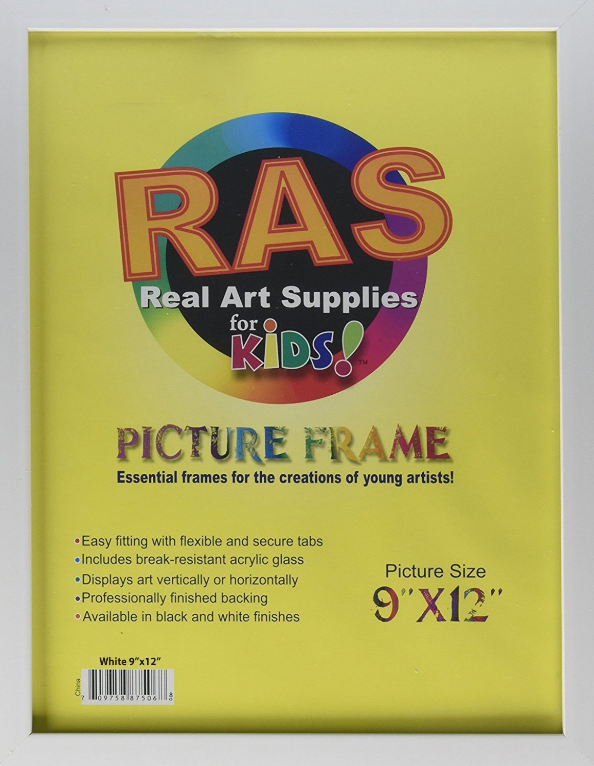 RAS Kids Art Frame - Boxed Style Wide Frame Edge Construction Paper Removable Acrylic Pane Cardboard Backing with Hooks - [White - 9x12'']