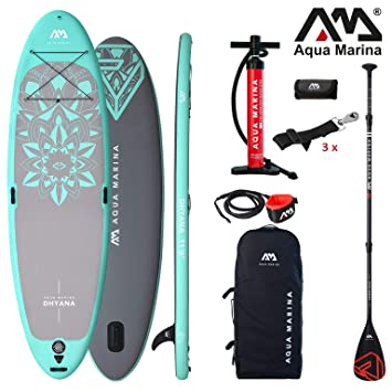 Aqua Marina Dhyana 2019 Yoga Sup Board Hinchable Stand Up Paddle Tabla de Surf 336x91x12cm: Amazon.es: Deportes y aire libre