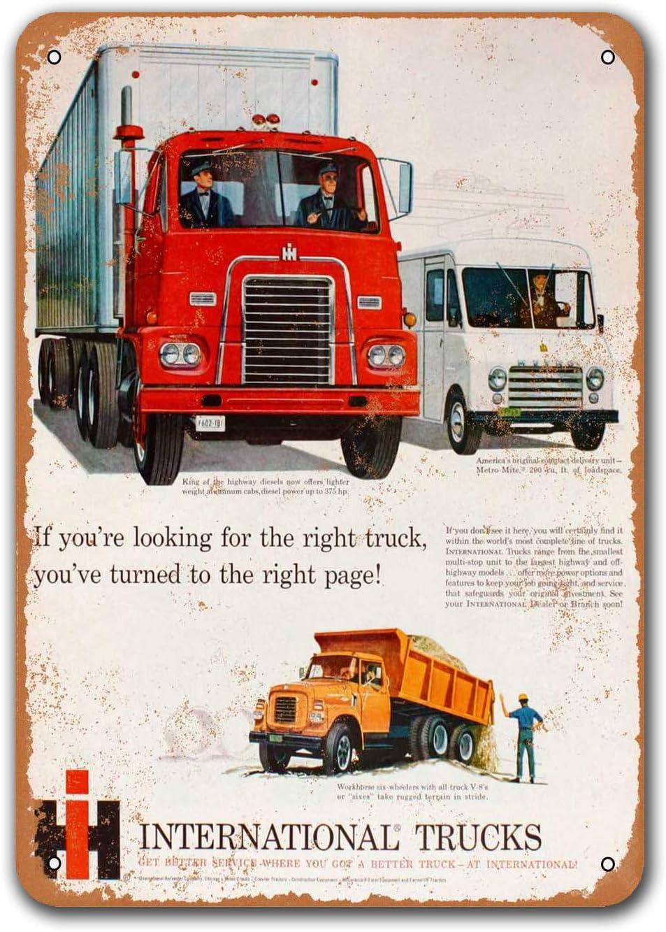 Sisoso 1960 International Trucks Vintage Tin Signs Cars Metal Bar Poster Man Cave Garage Game Room Office Dorm Wall Decor 8x12 inches