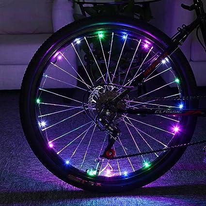 1 pieza Cool brillante impermeable colorido bicicleta luces para rueda de bicicleta al aire libre de