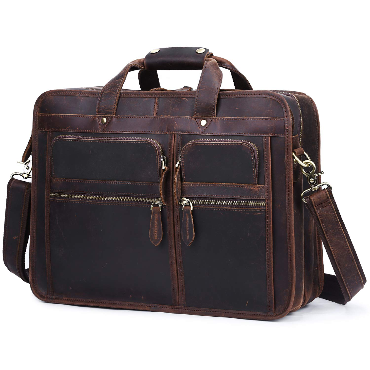 S-ZONE Men s Leather Briefcase 15.6 Inch Laptop Travel Bag Duffle Messenger Bag