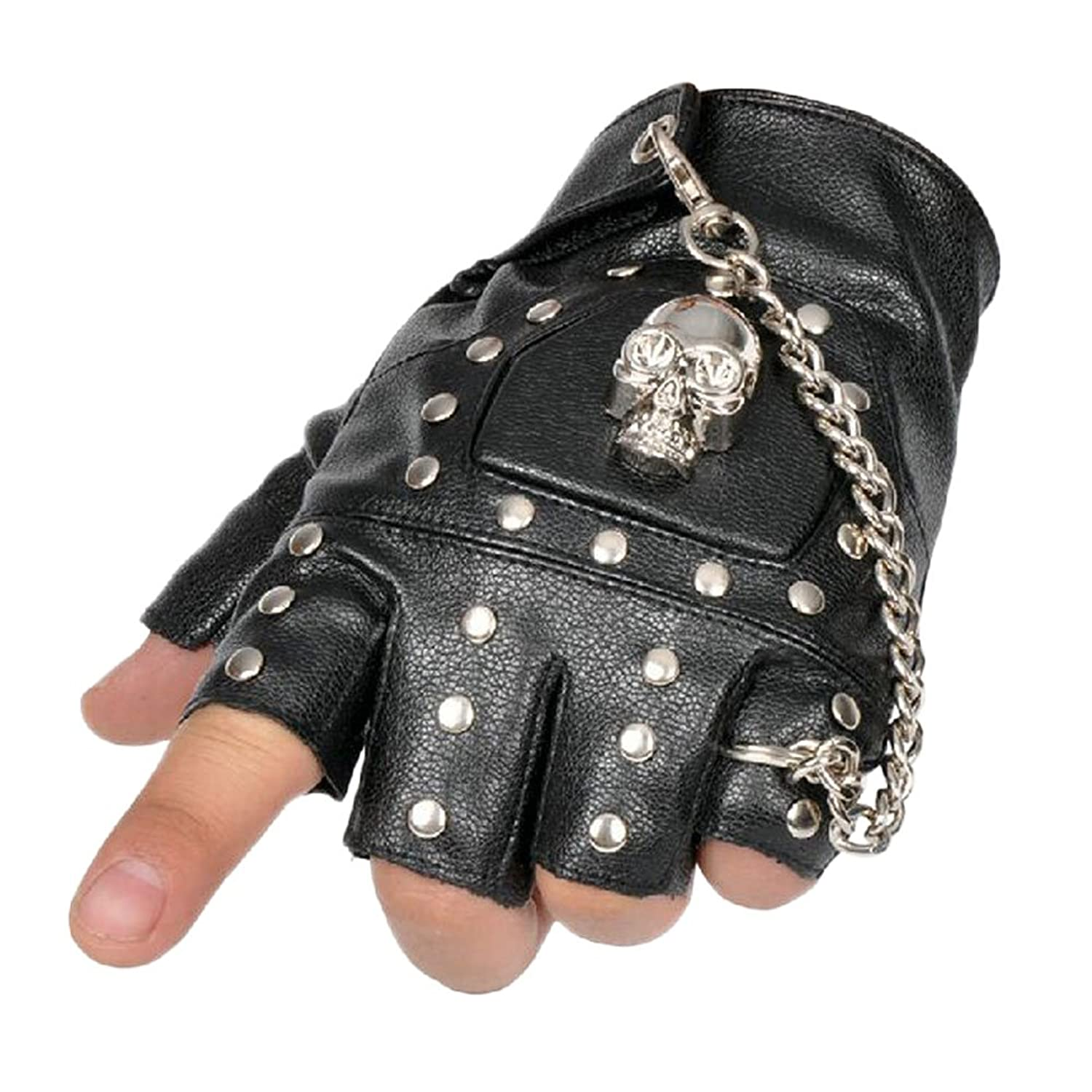Motorcycle leather gloves amazon - Amazon Com Minibee Men S Fingerless Stud Metal Skull Chain Gloves Cycling Rock Gothic Punk Style Gloves A Pair Black One Size Clothing