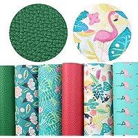 "David accessories 6 Pcs 7.8"" x 13.3"" (20 cm x 34 cm) Solid Color Litchi Flamingo Printed Faux Leather Sheets Include 2…"