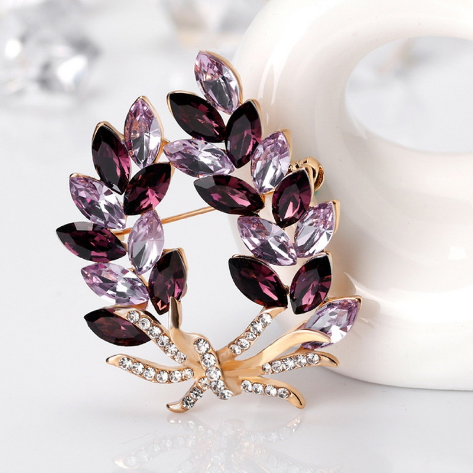 ptk12 Coat Accessories Purple Crystal Flower Casual Party Bouquets Rhinestone Brooch by ptk12 (Image #6)
