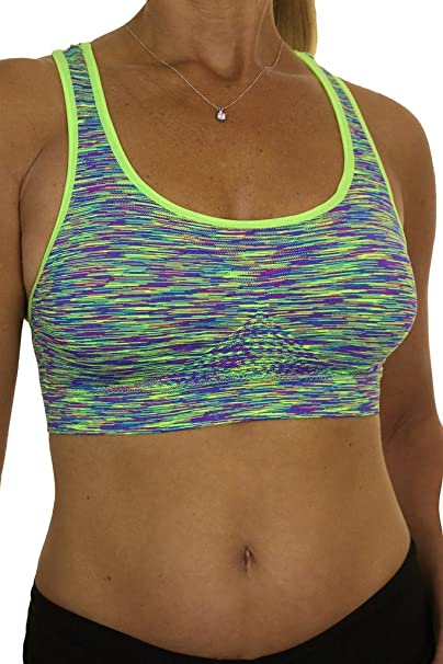 c688663d5d904 ICE (6477-6 Racerback Padded Support Sports Bra Neon Green Marl (SM ...