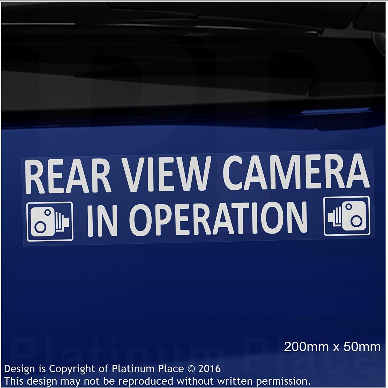 CCTV Sign-Van,Lorry,Truck,Taxi,Bus,Mini Cab,Minicab Safety and Security-Go Pro,Dashcam Platinum Place 2 x EXTERNAL 200 x 50mm-Rear View Camera In Operation Warning Stickers-White on Clear-
