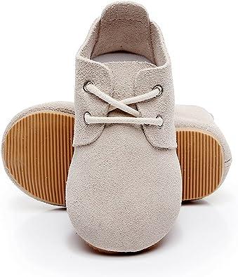 Easy On Tan Hard Sole Baby Boy Oxford Crib Shoes