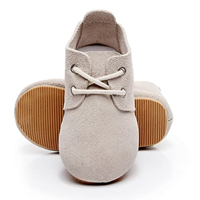 HONGTEYA Genuine Leather Baby Oxford Shoes - Hard Soled Suede Babies Toddler Moccasins for Girls Boys