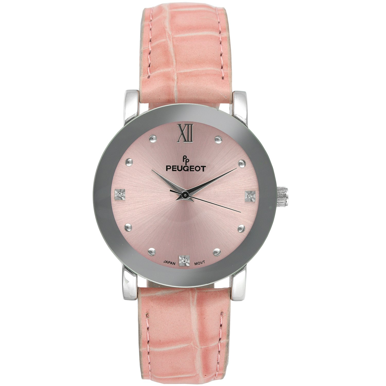 93069717e512d Amazon.com  Peugeot Womens Pink Embossed Genuine Leather Strap Watch with a  Round Mirrored Bezel
