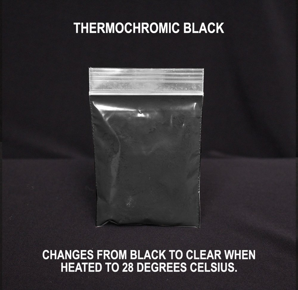 Black Thermochromic Pigment - Changes From Black to White/Clear At 18 Degrees Celsius (64.4 Degrees Fahrenheit)
