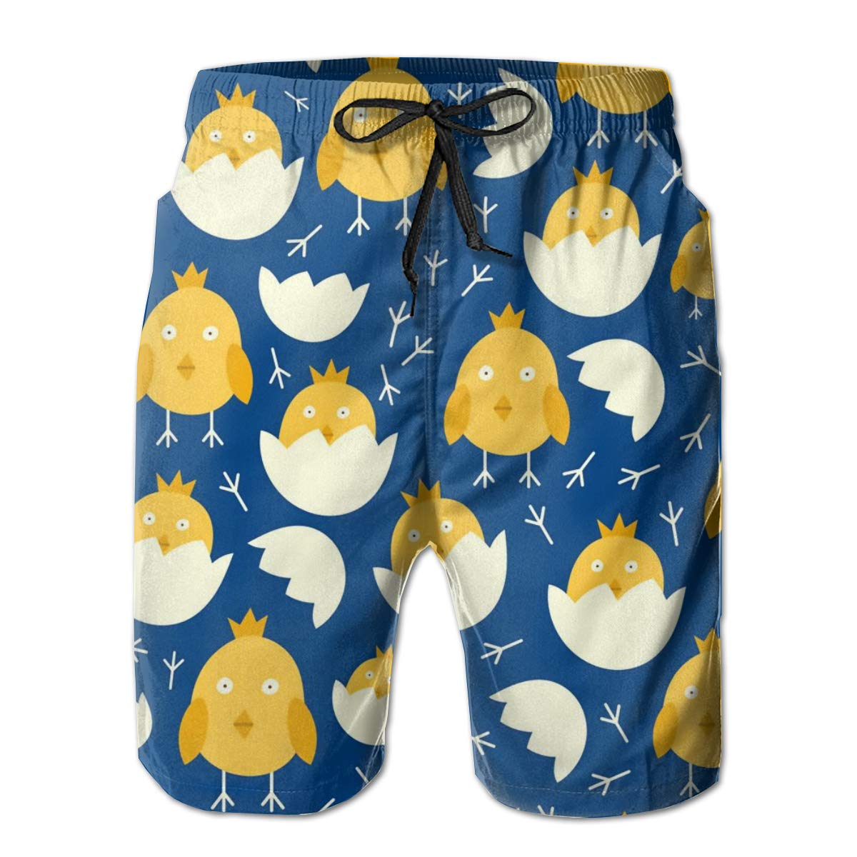 SARA NELL Mens Shorts Easter Pattern with Chicks Quick Dry Swim Trunks Beach Board Shorts