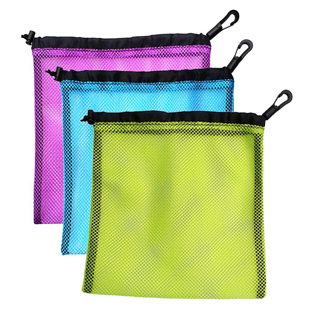 Prettyia 3Pcs Lightweight Nylon Mesh Nets Bag Pouch Golf Tennis 30 Balls Carrying Holder Storage Drawstring Bag - 20 x 24cm