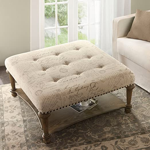 Madison Park Darcy Square Exposed Wood Cocktail Ottoman