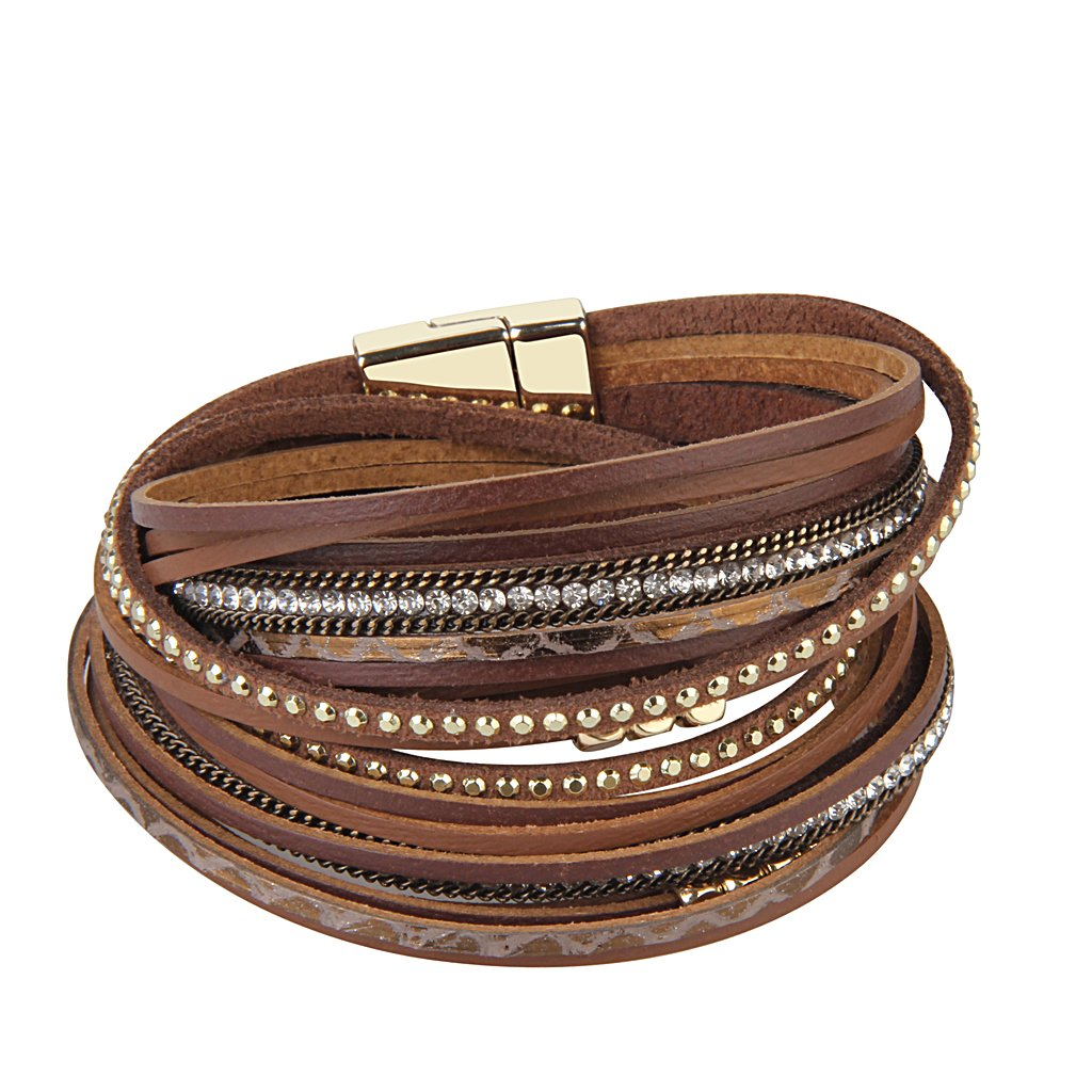 TASBERN Women Leather Wrap Bracelet in Goldplated Metallic Crescents and Crystal Cuff Jewelry for Ladies Girls (Brown Leather Bracelet for Women)