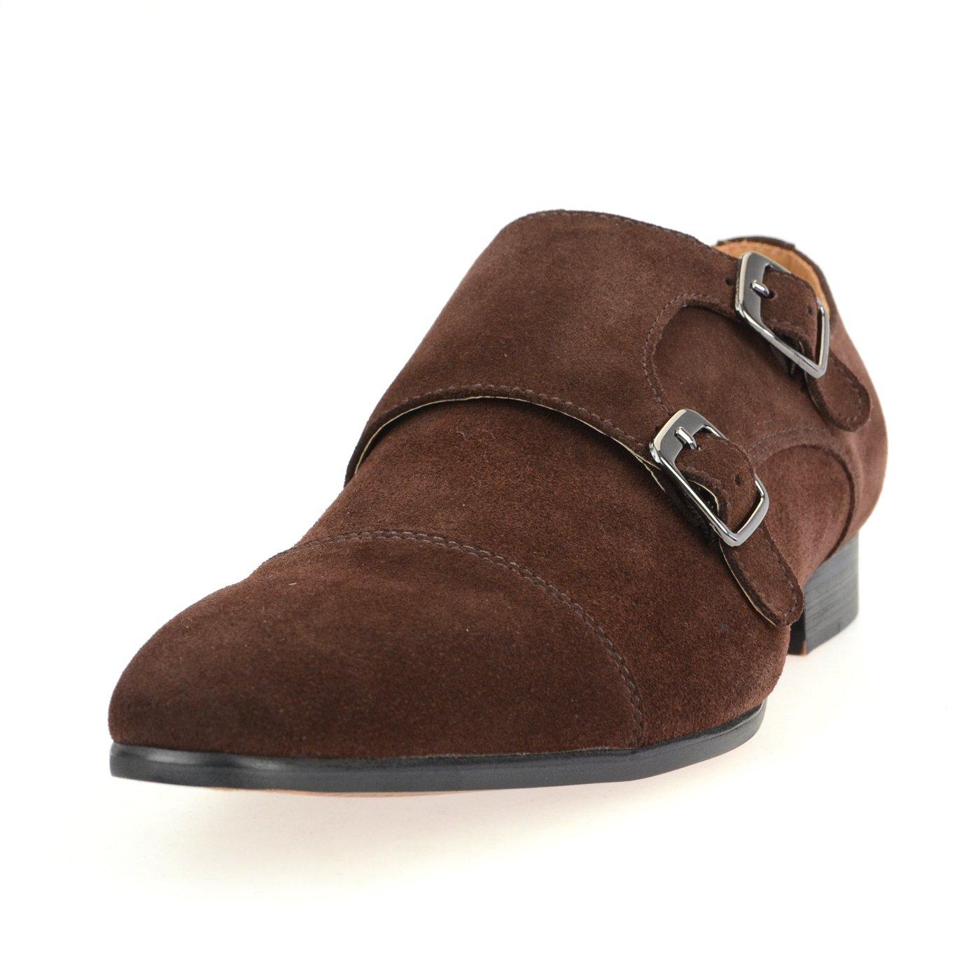 [ルシウス] LUCIUS 本革 20種類から選ぶ レザー メンズ ダブル モンクストラップ メダリオン ストレートチップ 革靴 紳士靴 B076DMWCSF 27.0 cm 3E|HA17480-4 ブラウン HA17480-4 ブラウン 27.0 cm 3E