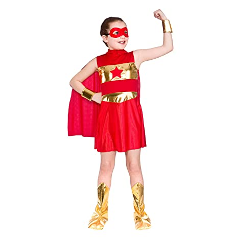girls red super hero fancy dress up party costume halloween child cape age 11 13