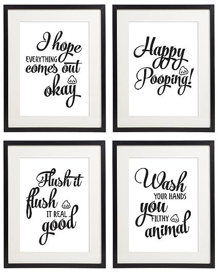 Bathroom Sayings Wall Art.Amazon Com Idiopix Bathroom Wall Art Quotes And Sayings