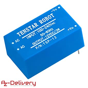 AZDelivery 220V a 12V Fuente de alimentación mini para Arduino y ...