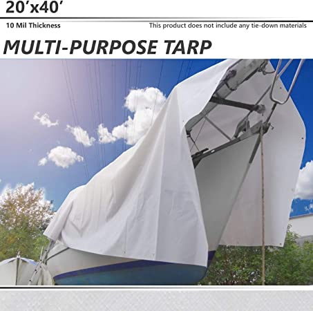 Great for Tarpaulin Canopy Tent RV or Pool Cover!!! Tarp Cover Silver//Black Extremely Heavy Duty 20 Mil Thick Material Waterproof Boat