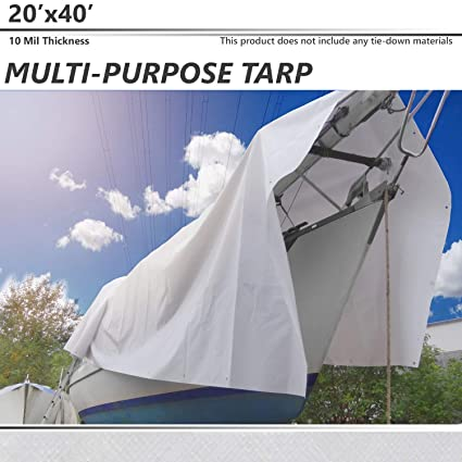 SunnyRoyal 8 x 10 Tarp 10-mil Heavy Duty Thick Material UV Resistant Multi-Purpose Waterproof Reinforced Rip-Stop with Grommets for Tarpaulin Canopy Tent Boat RV or Pool Cover White