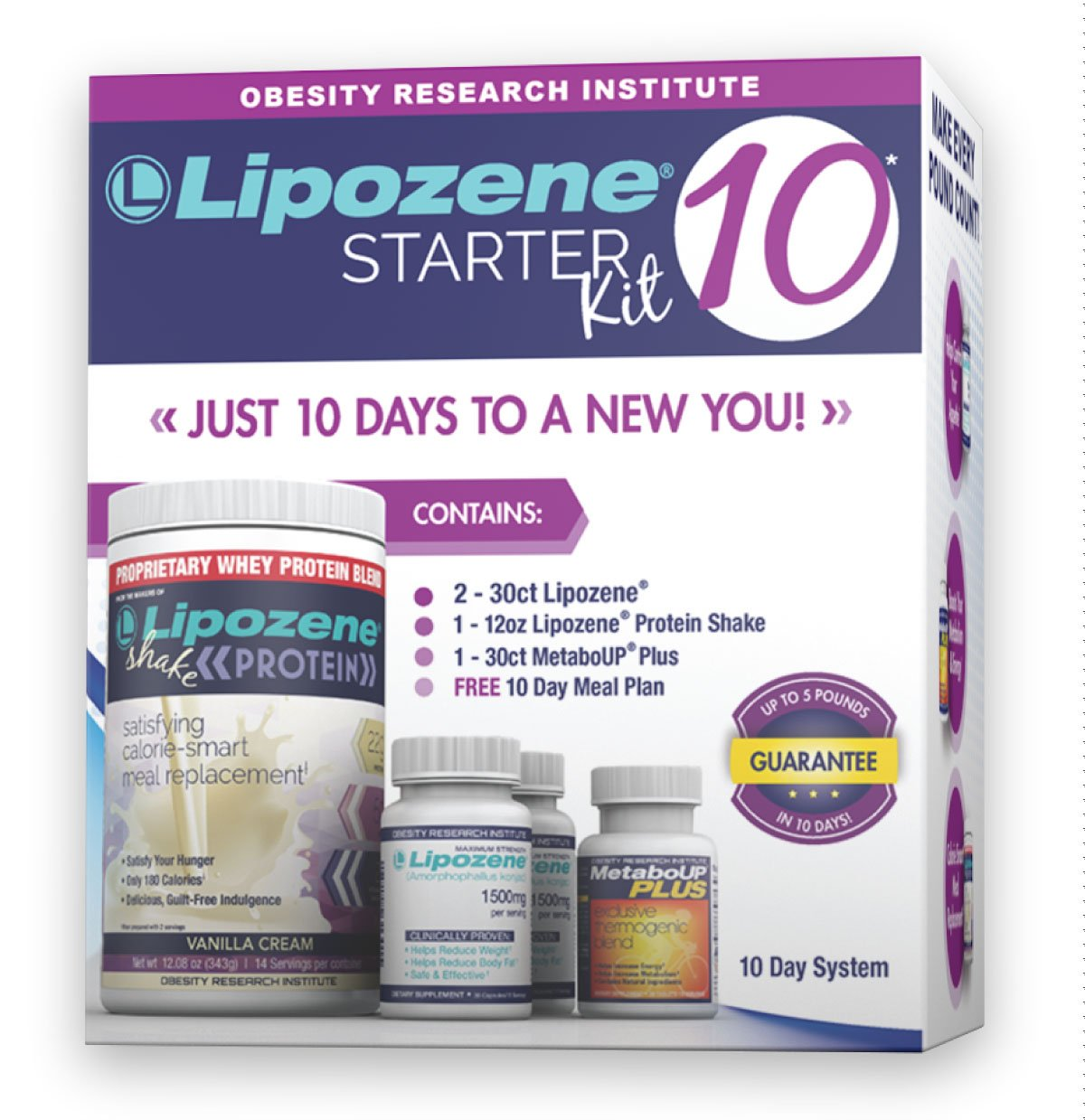 Lipozene 10 Starter Kit - Complete Diet and Nutrition Plan Including Protein Shake, Lipozene Appetite Suppressants, Meal Plan, and MetaboUP Thermogenic Metabolic Booster