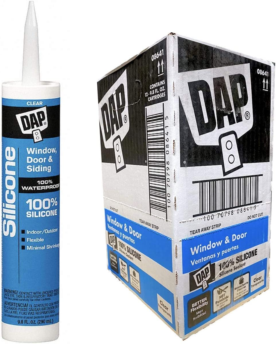 DAP 08641 12 Pack 9.8 oz. Window and Door Silicone Rubber Sealant, Clear