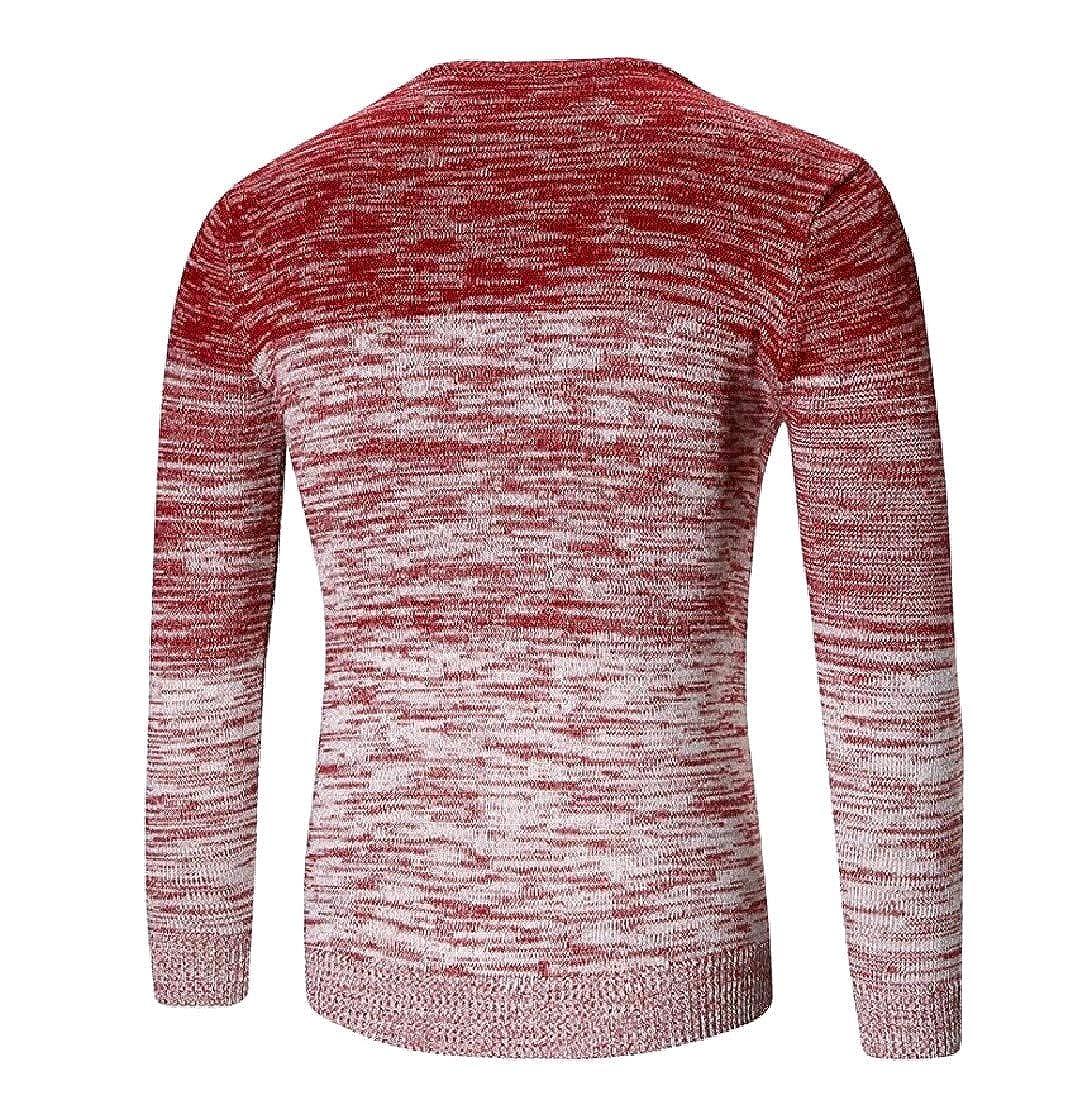 VITryst-Men Pullover Silm Fit Gradient Ramp O-Neck Pullover Sweater