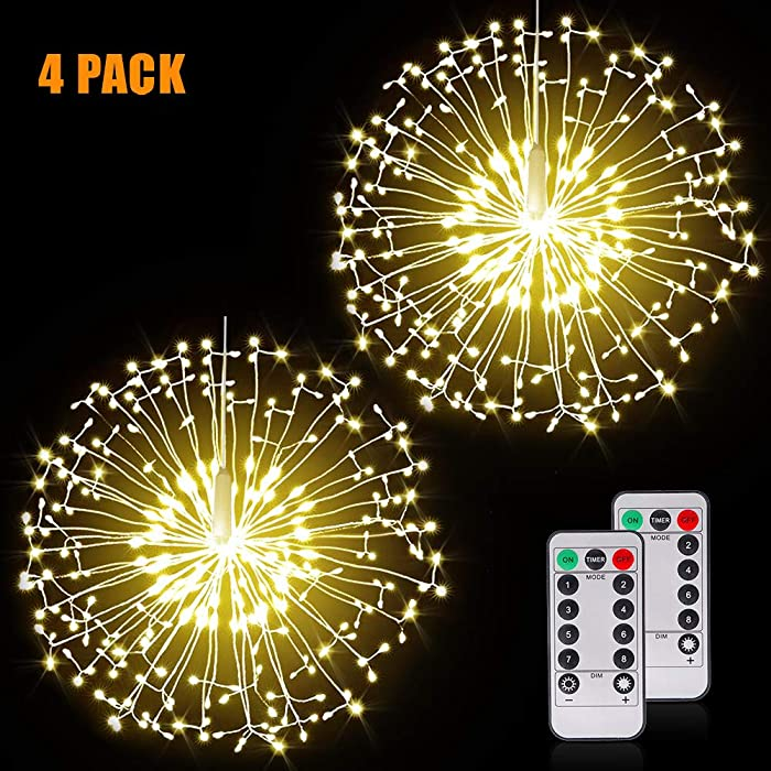 Fairy Firework String Lights Wire Lights,198 LED DIY 8 Modes Dimmable Lights with Remote Control, Waterproof Decorative Hanging Starburst Lights for Christmas, Home, Patio, Indoor Outdoor Decoration