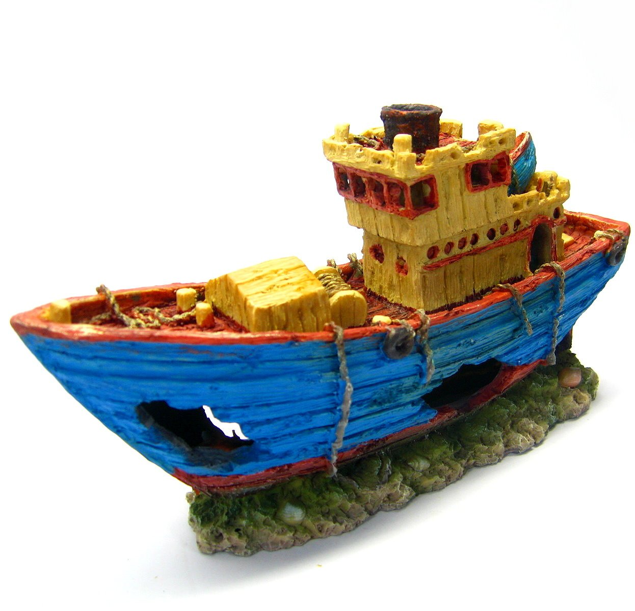 Fishing boat 10.8'' Ancient ship Aquarium Ornament Decoration Shipwreck fish tank by Aquarium Equip