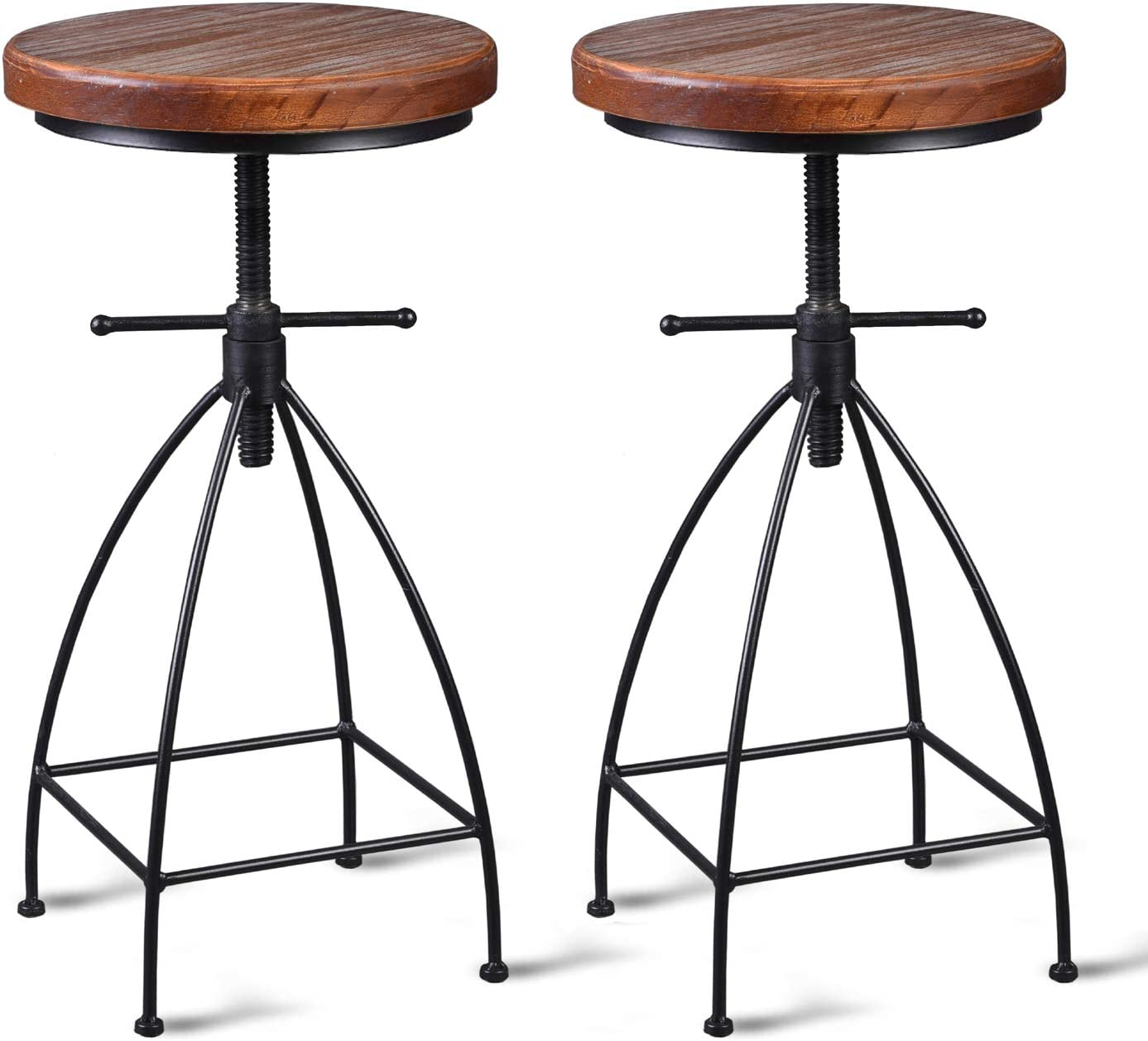 Diwhy Industrial Vintage Rustic Bar Stool, Kitchen Counter Height Adjustable ,Metal Stool,Swivel Stool,24 Inch,Fully Welded Set of 2 (Brown Wooden Top)