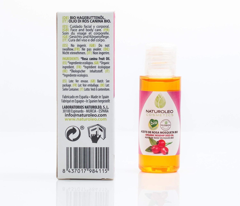 Naturoleo Cosmetics - Aceite Rosa Mosqueta BIO - 100% Puro y Natural Ecológico Certificado- 30 ml: Amazon.es: Belleza