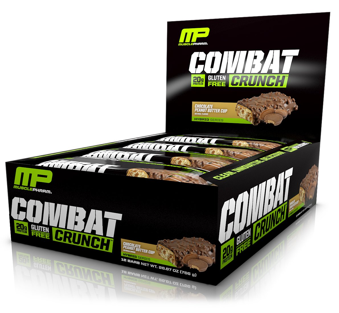 MusclePharm Combat Crunch Protein Bar, Multi-Layered Baked Bar, 20g Protein, Low Sugar, Low Carb, Gluten Free, Chocolate Peanut Butter Cup, 12 Bars