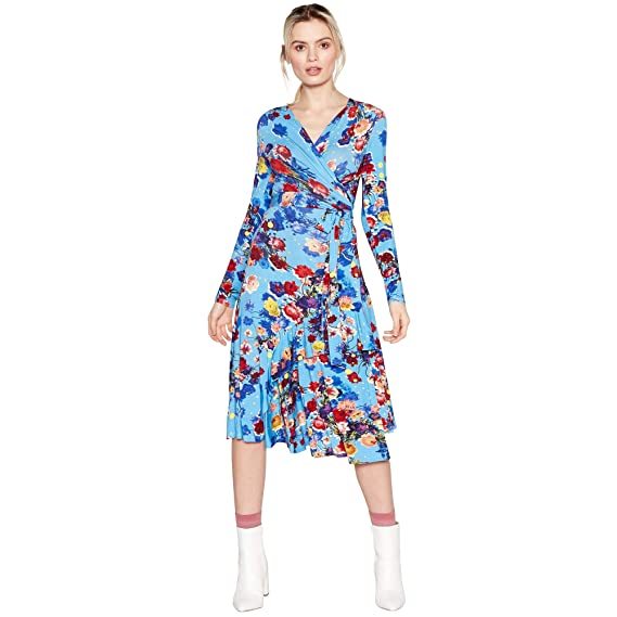 101f877c3dd Studio by Preen Womens Bright Blue Floral Print Jersey Midi Dress 8  Studio  by Preen  Amazon.co.uk  Clothing