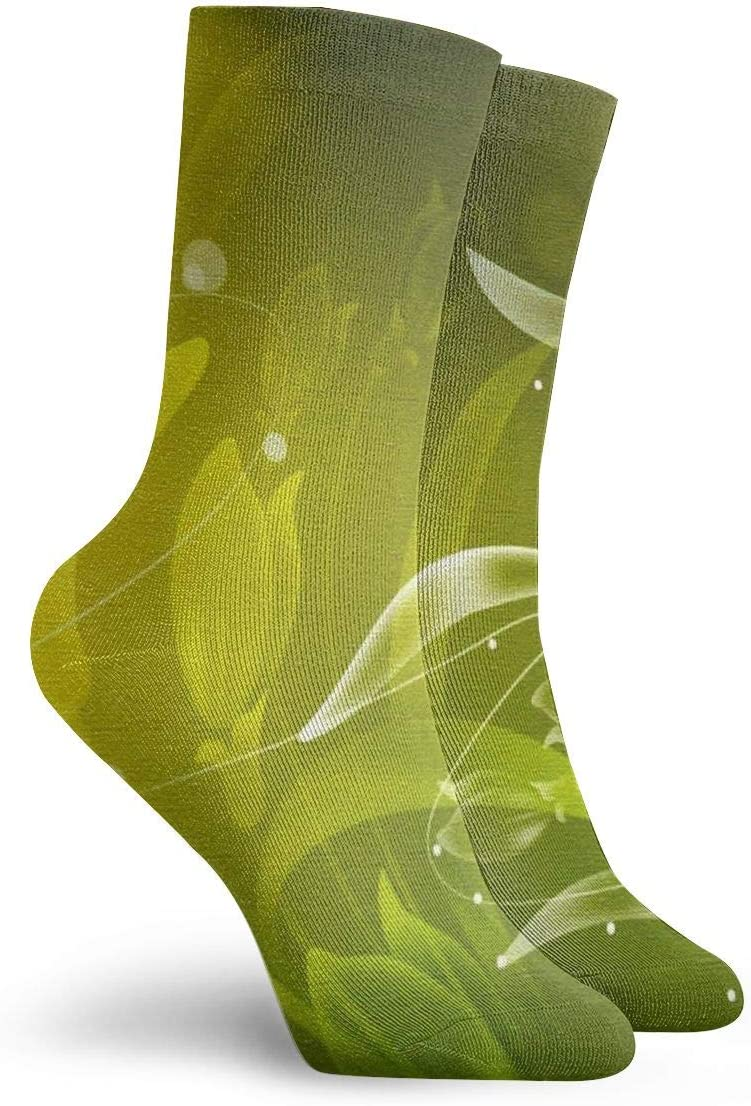 WEEDKEYCAT Green Leaves Flower Background Adult Short Socks Cotton Classic Socks for Mens Womens Yoga Hiking Cycling Running Soccer Sports