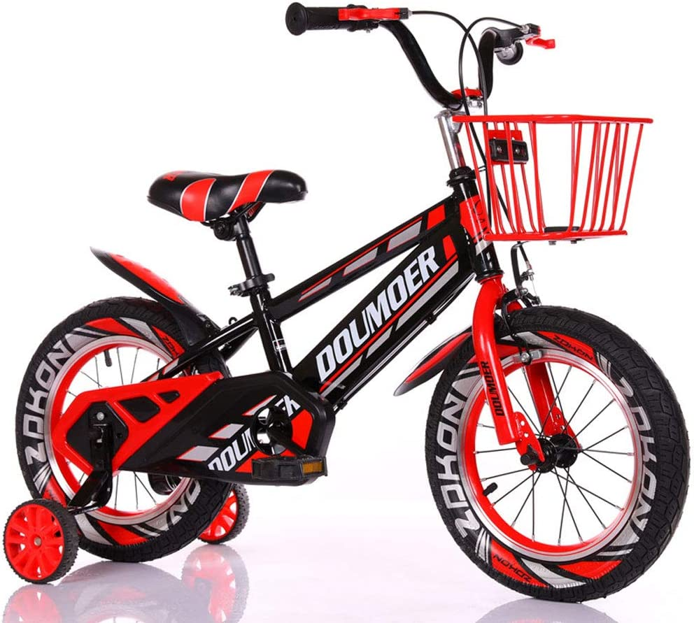JHGK Bicicletas De Los Niños, Marco De Acero Al Carbono con Espesado Auxiliar Ruedas, Bicicletas 3-7 Años De Los Niños, Bicicletas De 12/16 Pulgadas Hijos,Rojo,16 Inch