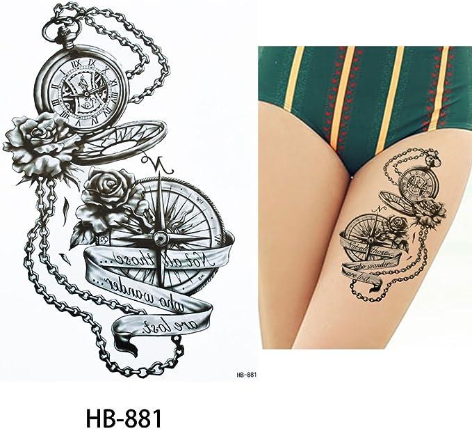 Brújula Reloj de bolsillo Tattoo Negro brazo Brazo Tattoo hb881 ...