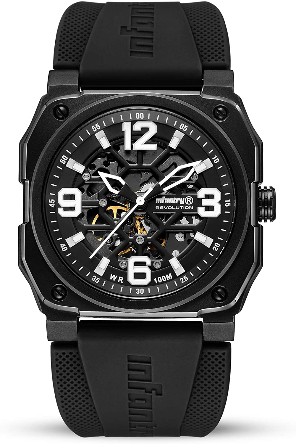 INFANTRY Mens Waterproof Automatic Mechanical Watch Skeleton Military Tactical Rubber Band