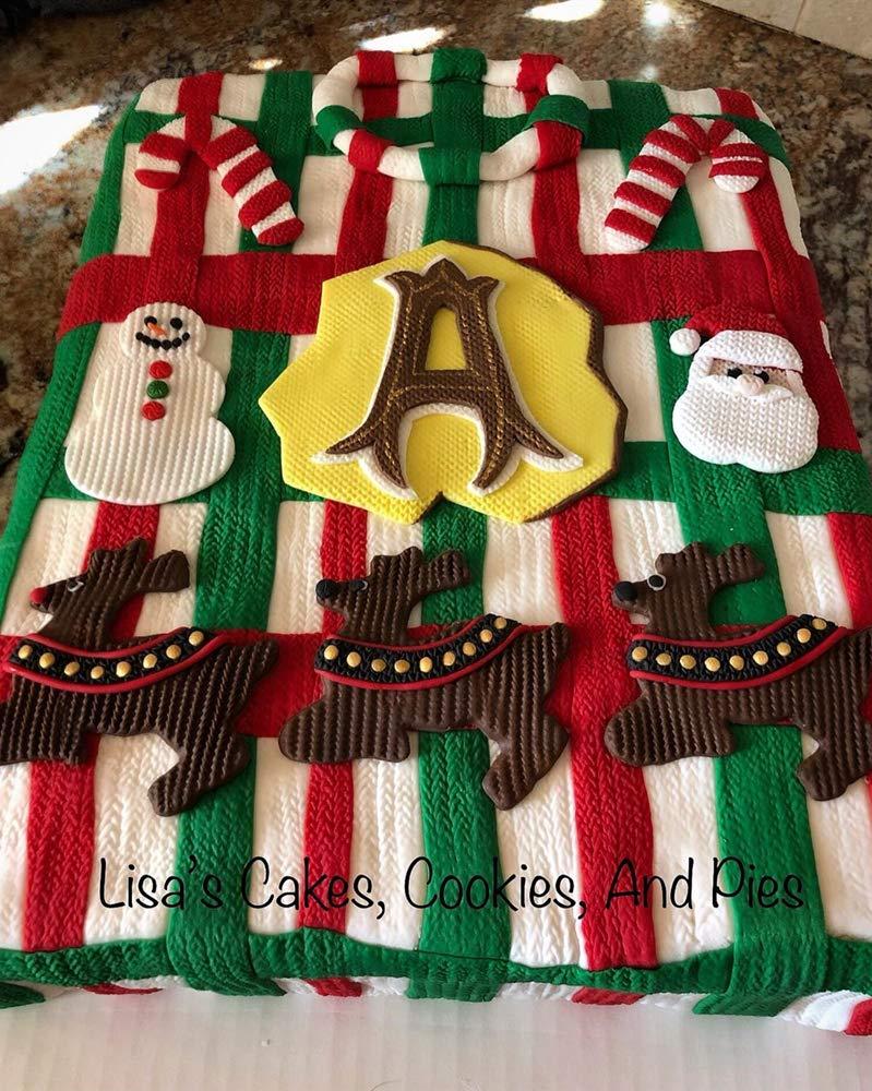 Wocuz Set of 4 Fondant Impression Mat Knitting Sweater & Crochet Texture Embossed Design Silicone Cake Cupcake Decorating Supplies molds by Wocuz (Image #4)