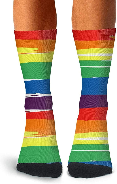 Mens Boot Socks Rainbow Striped LGBT Flag Stocking Funky Casual Socks