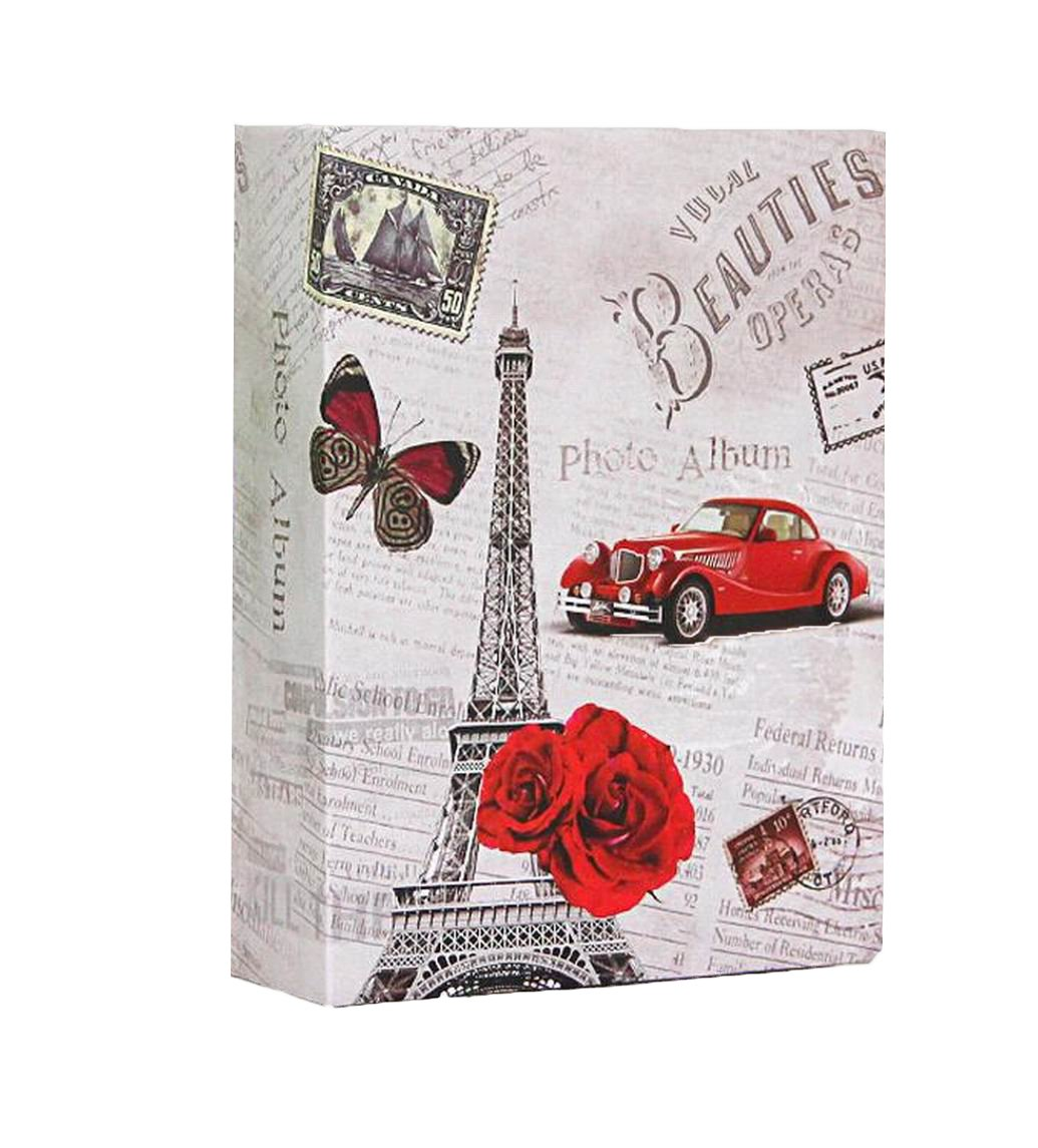 WEI LONG Photo Album Hold 100 Pockets, 4''x 6'' Photos, (Eiffel Tower)