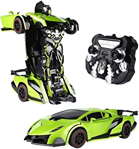 SainSmart Jr. Transform Car Robot, Electronic Remote Control RC Vehicles with One Button Tranforming and Realistic Engine Sound, for Kids(Green)