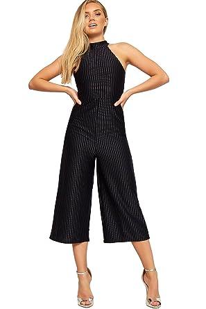 e4c8305cc195 WearAll Women s High Turtleneck Zip Sleeveless Striped Wide Leg Trousers  Ladies Jumpsuit - Navy Blue -