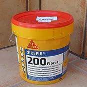 Sikafill-200 fibras, Pintura elástica con fibras para impermeabilización, Gris, 5kg